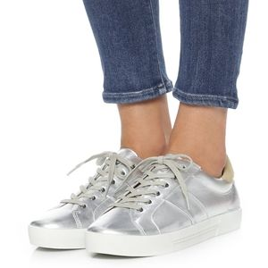 Joie Dakota Silver Genuine Leather Sneakers size 8